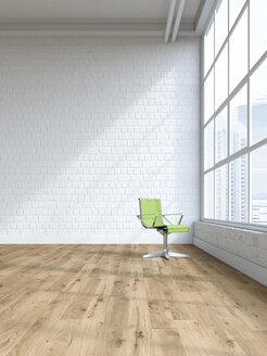 Single swivel chair in an empty loft, 3D Rendering - UWF01134