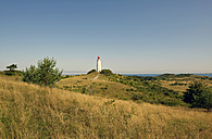 Germany, Hiddensee, Dornbusch, view to landscape and lighthouse - LHF00516