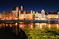 Poland, Gdansk, old town, Motlawa river with St. Mary's Gate at night - CSTF01293