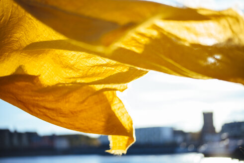 Yellow cloth blowing in the wind - DASF00068