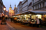Czechia, Prague, market at Havel Strasse with St. Gallus Church in the background in the evening - DSGF01497