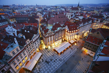 Czechia, Prague, cityscape with Old Town Square at dusk - DSGF01509