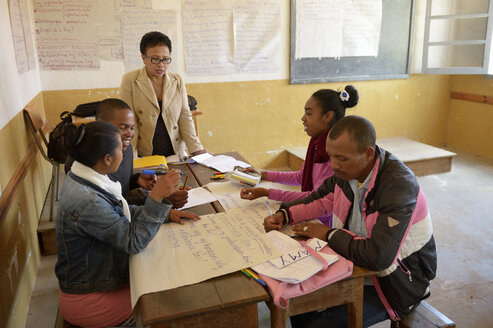 Madagascar, Fianarantsoa, Young people attending a teacher training - FLKF00767