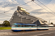 Latvia, Riga, tram in front of national library - CST01314