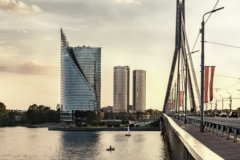 Latvia, Riga, Vansu Bridge above Daugava River, Z-Towers and Saules Akmens skyscrapers - CSTF01326