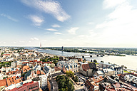 Latvia, Riga, cityscape with old town, and bridges over Daugava River - CSTF01335