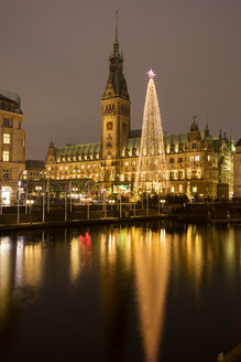 Germany, Hamburg, steel Christmas tree at market in front of illuminated town hall - WIF03402
