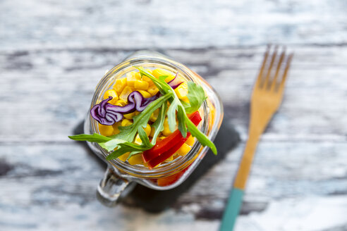 Glass of rainbow salad with bulgur, rocket and different vegetables - SARF03234
