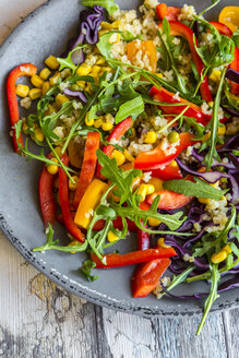 Plate of rainbow salad with bulgur, rocket and different vegetables - SARF03237