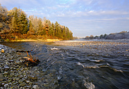 Germany, Bavaria, Geretsried, Isar at autumn morning - SIEF07334