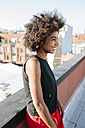 Relaxed woman standing on rooftop in Brooklyn - GIOF02103