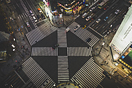 Japan, Tokyo, Ginza, top view of zebra crossing in front of Tokyu Plaza shopping mall - KEBF00522