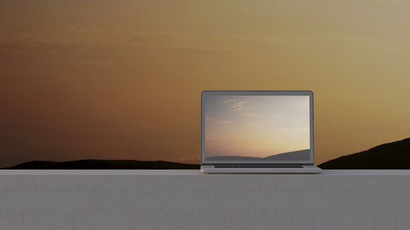 Laptop on wall at sunset, 3D rendering - UWF01142