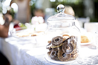 Jar with cakes on garden table - WESTF22790