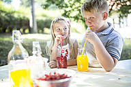 Sister and brother drinking homemade lemonade at garden table - WESTF22808