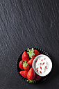 Bowl of natural yoghurt with strawberries - CSF27967