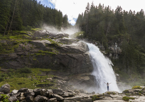 Austria, High Tauern National Park, woman at Krimml waterfalls - ZCF00513