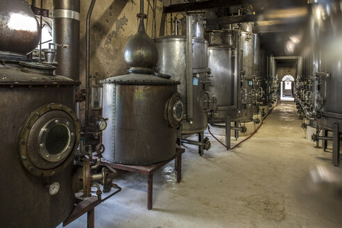 Old copper boilers in old whiskey distillery - ZEF13122