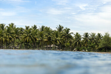 Indonesia, Java, coastline with palms seen from the ocean - KNTF00731