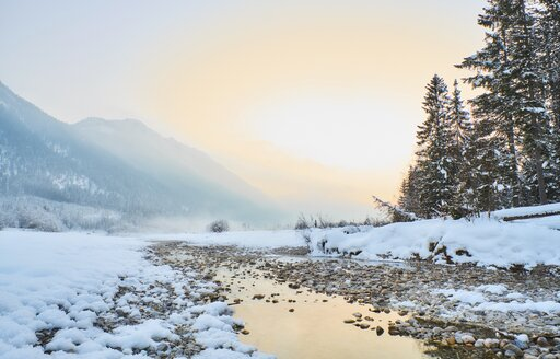 Germany, Bavaria, Vorderriss, Isar Valley in winter - MRF01704