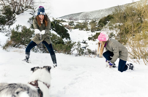 Two friends playing with their dog in the snow - MGOF03062