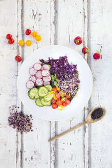 Plate of organic leaf salad, red cabbage, tomatoes, cucumber and radish sprouts - LVF05942