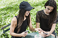 Two twin sisters looking at cell phones in a park - GIOF02214