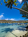 Caribbean, St. Vincent And The Grenadines, Bequia, bay of Port Elisabeth with sailing ships - AMF05330