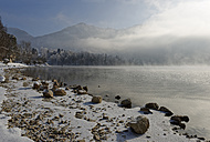 Germany, Bavaria, fog at Lake Kochel in winter - LBF01583