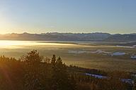 Germany, Bavaria, Pfaffenwinkel, sunrise in winter as seen from Hoher Peissenberg - LBF01589