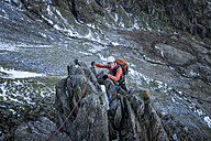 UK, North Wales, Snowdonia, Ogwen, Cneifion Rib, climbing mountaineer - ALRF00852