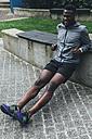 Irlenad, Dublin, young man exercising on a bench - BOYF00689