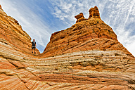 USA, Arizona, Page, Paria Canyon, Vermillion Cliffs Wilderness, Coyote Buttes, red stone pyramids and buttes - FOF09053