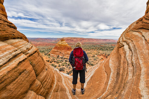 USA, Arizona, Page, Paria Canyon, Vermillion Cliffs Wilderness, Coyote Buttes, tourist enjoying the view on red stone pyramids and buttes - FOF09065