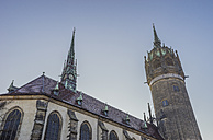 Germany, Lutherstadt Wittenberg, view to castle church from below - PVCF01029