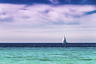 Spain, Menorca, Son Bou, sailing boat on the sea - SMAF00729