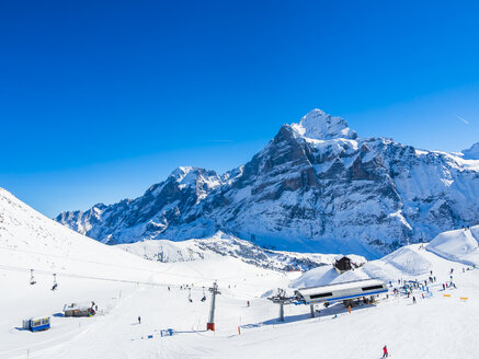 Switzerland, Canton of Bern, Grindelwald, view from First to Schreckhorn and Wetterhorn and ski slope - AMF05352