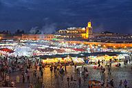 Morocco, Marrakesh, Djemaa el Fna at night - DSGF01625