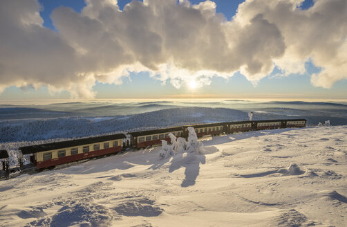 Germany, Saxony-Anhalt, Harz National Park, Brocken Railway at winter evening - PVCF01032