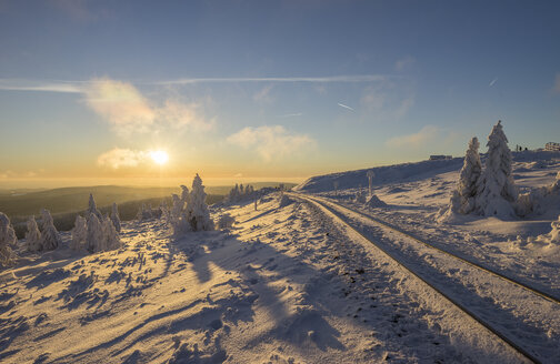 Germany, Saxony-Anhalt, Harz National Park, Brocken at winter evening - PVCF01035
