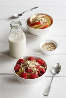 Bowl of porridge with raspberries and bowl of porridge with apples - EVGF03129
