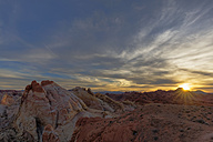 USA, Nevada, Valley of Fire State Park, sandstone and limestone rocks, White Domes at sunset - FOF09087