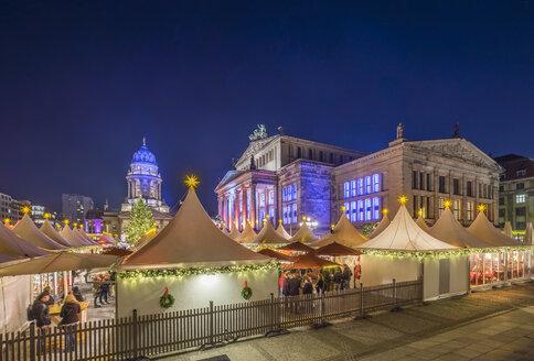 Germany, Berlin, Christmas market at Gendarmenmarkt at night - PVCF01045