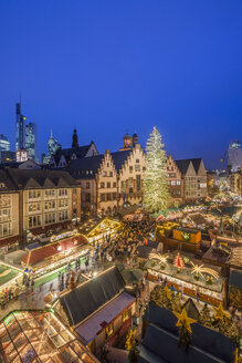 Germany, Frankfurt, Christmas market at Roemerberg in the evening seen from above - PVCF01050