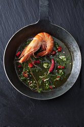 Prawn with hernbs, chili and garlic in iron pan - CSF28156