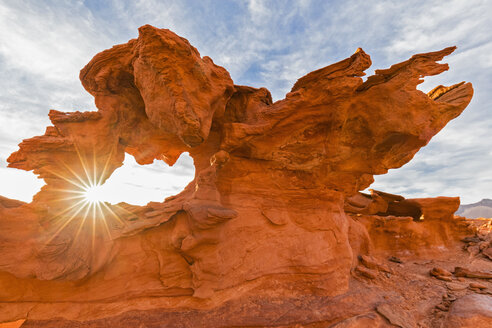 USA, Nevada, Little Finland, sandstone rock formation at backlight - FOF09122