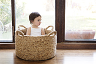 Toddler girl sitting in a basket in front of terrace door - LITF00558