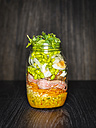 Salad in a jar with steak , boiled eggs, green beans and durum wheat - KSWF01796