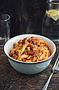 Bowl of Torchiette with vegan tofu Bolognese - IPF00368