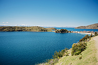 Bolivia, Titicaca lake, Isla del sol, Comunidad Challapampa on the lakeshore with snowy Andes in the background - GEMF01545